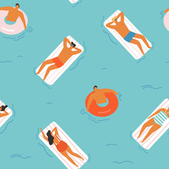 Summer time beach illustration in vector.