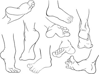 A Set of Cartoon Illustrations. Foot  for you Design