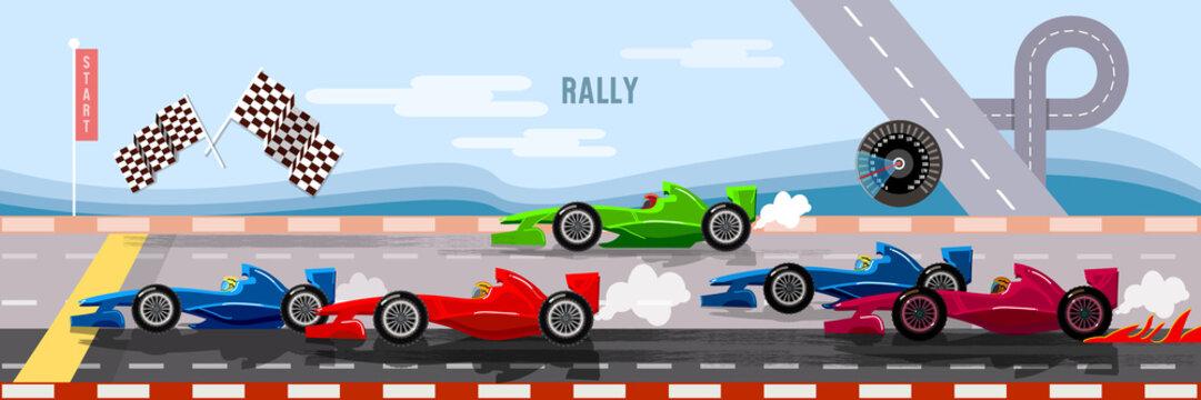 Car racing banner, cars on a start line banner, bolides, formula car speeding, tyre drift on race circuit finish line vector
