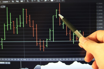 Pen point on screen with background bar chart trading.