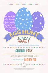 Egg hunt banner template for Easter entertainment event