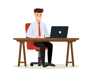 Business people illustration. Young man sitting the desk and working on laptop. Vector flat illustration.
