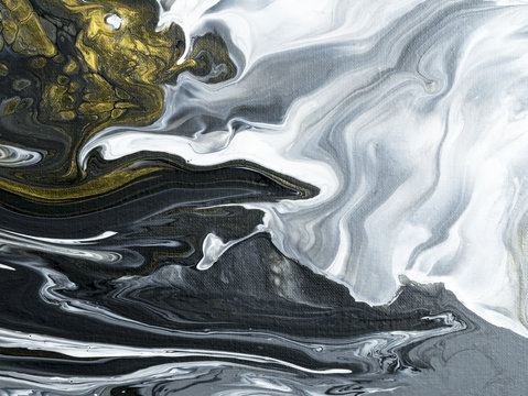 Abstract hand painted black and white with gold background