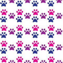 Paw print seamless. Traces of Cat and dog Textile Pattern. Cat and dog footprint seamless pattern. Vector seamless