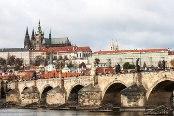 View on to Prague Castle from Charles Bridge over Vltava river in Prague, Czech Republic