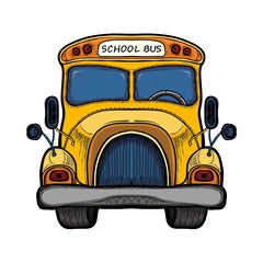 Vector yellow school bus isolated on white
