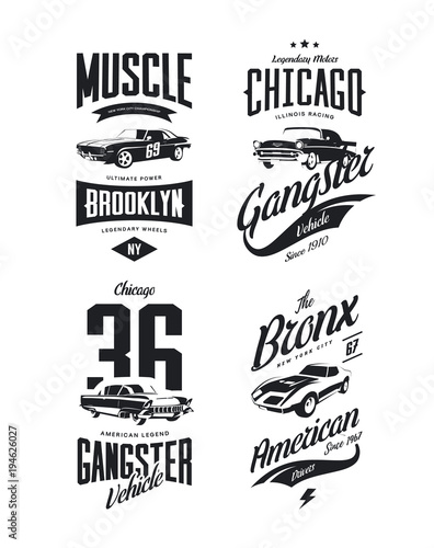 8f5467e8 Vintage classic gangster, muscle car vector tee-shirt logo isolated set.  Premium quality old sport vehicle logotype t-shirt emblem illustration.  American ...
