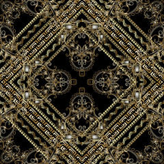 Luxury paisley seamless pattern. Vector floral background wallpaper with gold vintage 3d paisley flowers, leaves, stripes, swirls, waves, lines, frames, borders, rhombus. Modern rich damask ornaments