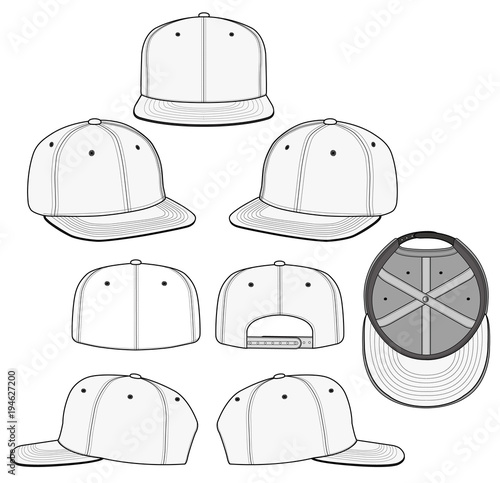 4a6a89464d3 SNAPBACK 2018 vector illustration flat sketches template