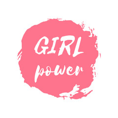 Girl Power hand drawn letteringe badge. Watercolor paint pink design element. Vector sign of feminism movement, gender equality. Ink dry brush stroke, stain, blot, splatter, splash texture background.