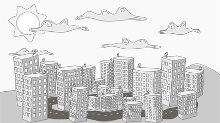 A black and white doodle about a quiet city under clouds and sun