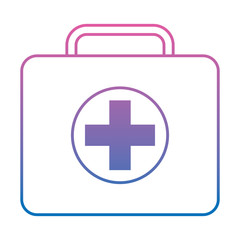 first aid kit icon image vector illustration design  purple to blue ombre line