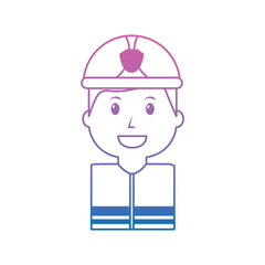 firefighter happy icon image vector illustration design  purple to blue ombre line