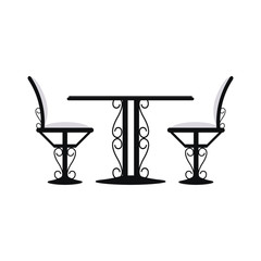 Restaurant desk with chairs vector illustration graphic design