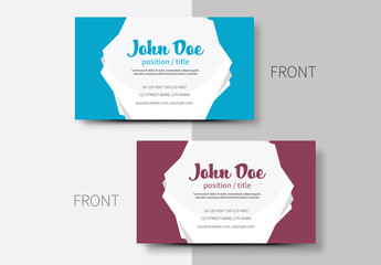 Business Card Layout with Pentagon Element 1