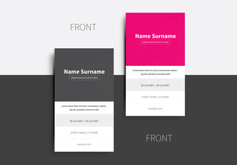 Pink and Gray Crosshatched Business Card Layout 1