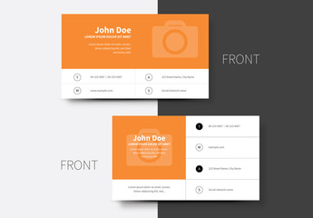 Business Card Layout with Orange Headers 1