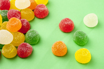jellys Colorful candy on green background