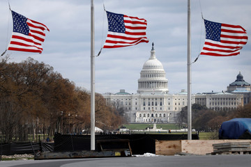 American flags fly with U.S. Capitol on background