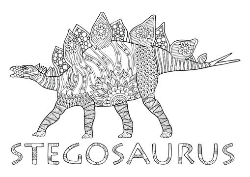 Stegosaurus. Decorative hand drawing of the animal and its name. Sketch for anti-stress adult coloring book in zen-tangle style. Vector illustration for coloring page.