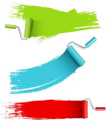 Farbroller Set mit Wandfarbe bunt isoliert