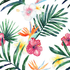 Watercolor tropic leaves and flowers seamless pattern