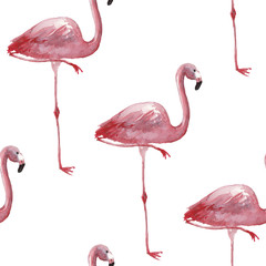 Canvas Prints Flamingo Watercolor tropical seamless pattern with flamingo