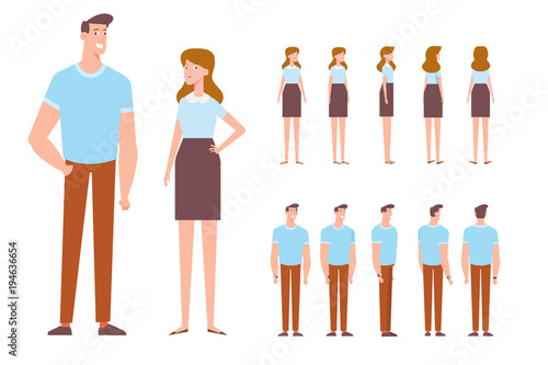 man and woman front side back 3 4 view characters cartoon style