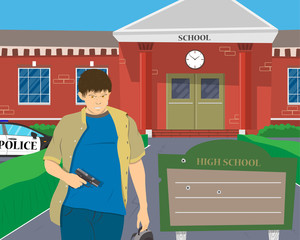 Teenager with a gun on the background of the school. Vector illustration