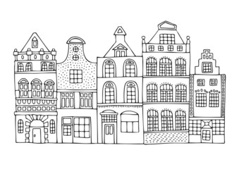 A hand drawn history street from a Dutch city. Sketch for anti-stress adult coloring book in zen-tangle style. Vector illustration for coloring page.