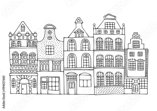 A Hand Drawn History Street From Dutch City Sketch For Anti Stress Adult