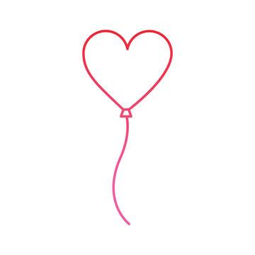 heart balloon valentines day icon image vector illustration design  pink line