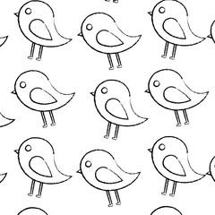 bird cartoon pattern image vector illustration design  black sketch line