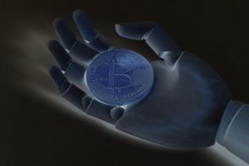 Wooden robot cyborg hand holding bitcoin