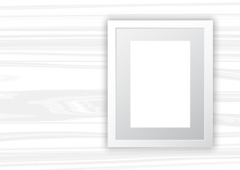 Blank frame on white wood background