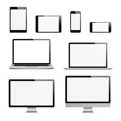 Computer, laptop, tablet, phone set. Vector