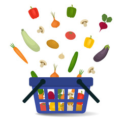 Vegetables falling into the basket. There is a potato, a tomato, a cucumber, onion, garlic, mushrooms, carrots, beets, sweet pepper, zucchini, eggplant in the picture. Vector illustration.