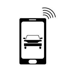 silhouette smartphone with car transport and used wifi