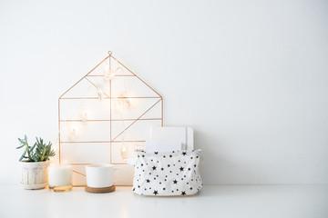 Minimalist scandinavian home decor, storage box and string light