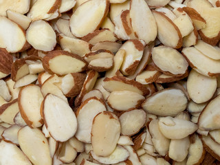 Zoom up of pile of sliced almonds