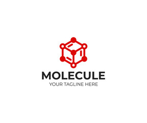 Molecular structure logo template. Chemical structure vector design. Cube network illustration