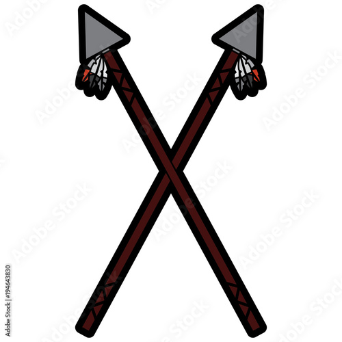 spears crossed weapon ancient traditional icon image vector