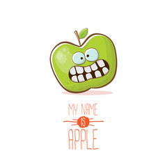 vector funny cartoon cute green apple character isolated on white background. My name is apple vector concept. super funky fruit food character
