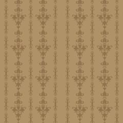 Light brown vintage background seamless floral old-time striped pattern.