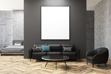 Dark gray and concrete living room, poster