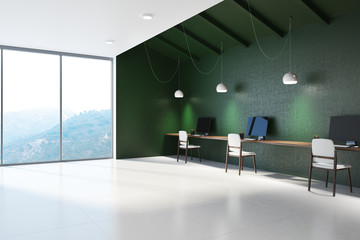 Emerald panoramic open space office corner