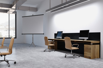 White office interior, screen for presentations