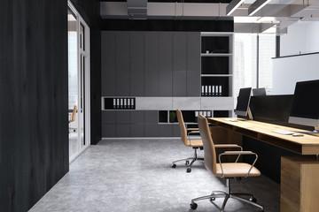 Black wall office interior, bookcase