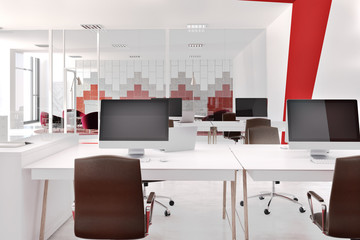 Red and white modern office, front