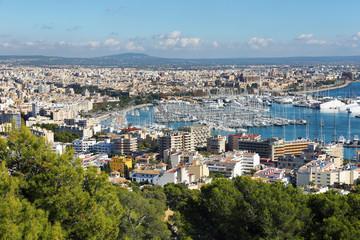 Palma Majorca and Marina Port views, Spain Balearic Islands.